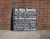 Family Rules sign, In this house we do, personalize with family name and custom rules