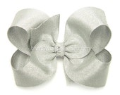 """Silver Hair Bow, Metallic Silver Grosgrain Hair Bow for Girls, 4 inch Boutique Bow, Special Occasion, 4"""" Metallic Bow, Baby Toddler Girls"""
