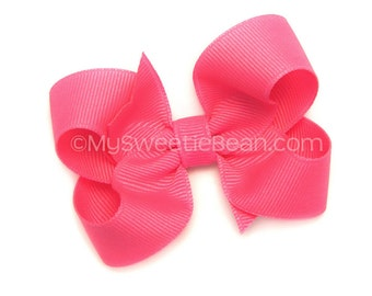 "Neon Pink Hair Bow for Girls, 3 inch Grosgrain Bow, Neon Pink Bow for Baby, Toddler, Girl, 3"" Boutique Bow, Basic Bow, Bright Pink"