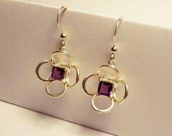 Silver Amethyst Flower drop earrings - Sterling silver with square cut amethyst