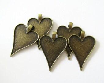 5 Heart Pendant Blanks Bezels Trays Settings - Antique Bronze - 48m x 35mm