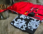 Makeup Bag - SALE SALE SALE Marvellous Moveable Makeup - Travel Brush Roll -  Black White Baroque w/ Red