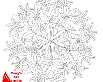Printable Mandala Coloring 010 Page Easter Lily