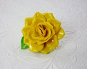 Yellow Rose Brooch/1960's Costume Jewelry/Flower Brooch/German Jewelry