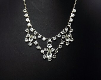 Art Deco Crystal Necklace, Open Back, White Gold, Wedding Bridal 1920's Jewelry