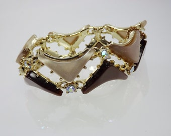 Chocolate Moonglow Bracelet, Lucite Bracelet, Thermoplastic, Brown Tan Rhinestone, 1950's Vintage Jewelry