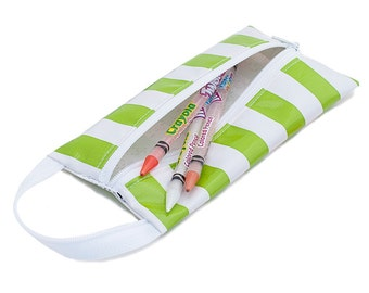 Oilcloth Pencil Case Makeup Bag Stripe