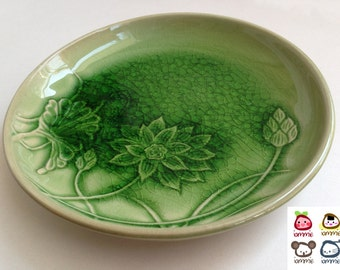 Ceramic Plate, Ceramic, green, lotus, ceramic dish, flower, thai, thailand, decoration, luxury, luxurious, nature, kitchenware, dish, dining