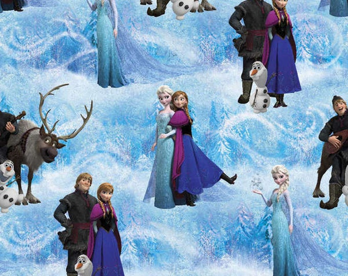 Frozen Blue Scenic Fabric by Disney Multi Character Fabric.  100% cotton from Springs Creative.