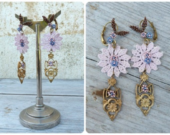 Lillac French handmade lace beaded flowers and finding dangles Earrings