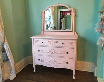 custom order Antique Dresser with mirror Shabby Chic pink distressed girl bedroom vintage Cottage prairie swags roses bows