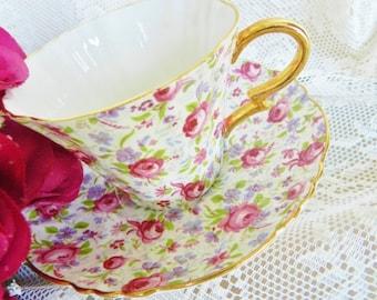Vintage Royal Standard Teacup, Rose Chintz Tea Cup, Chintz Teacup, Royal Standard, Floral Tea Cup,  no 20
