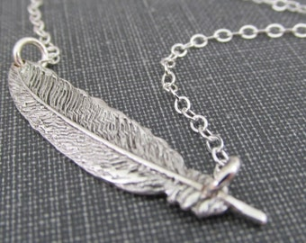Silver Feather Necklace, Sideways Feather Necklace, Sterling Silver Feather Jewelry, Feather Choker Necklace, Sideways Feather Necklace