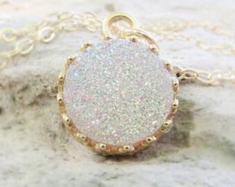 White Crystal Druzy Necklace, Genuine Crystal Druzy, Round Druzy Gemstone Necklace, Druzy Pendant Necklace, Druzy Jewelry