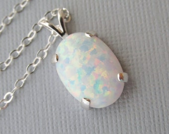 White Opal Necklace, Sterling Silver Opal Necklace, Lab Created Opal Pendant, October Birthstone Necklace, Opal Jewelry