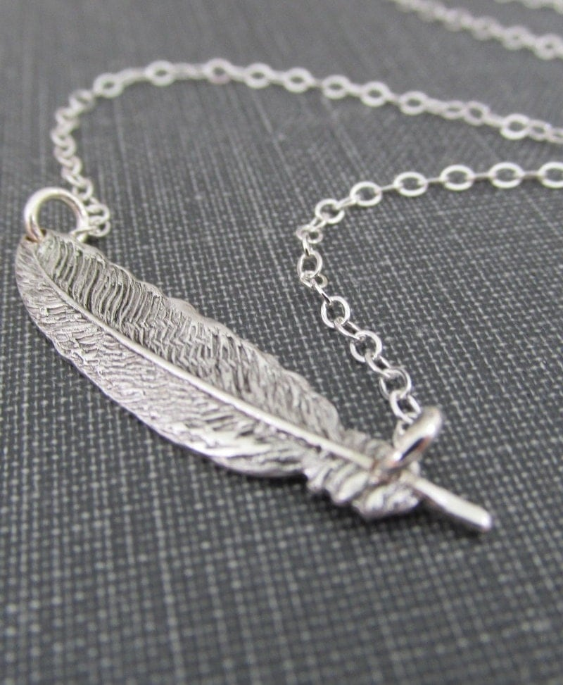 Silver Feather Necklace Feather Pendant Sterling Silver