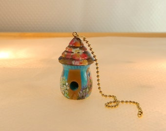 Turquoise Birdhouse Fan / Light / Shade Pull , Hand Painted