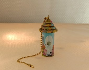 Turquoise Bird House Fan / Light Pull