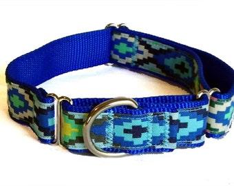 "Blue Santa Fe Large Dog Collar, Martingale, Leash or Harness 1"""