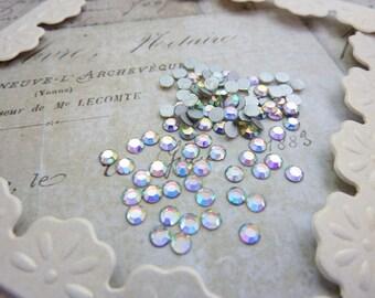 Vintage Swarovski Rhinestone SS12  3mm Glass Chaton Rose Crystal AB (25)