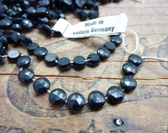 Glass Nailhead Bead Black 6mm Vintage N16 (50 Beads)