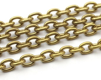 Cable Chain, 5 M. Open Link Raw Brass Cable Chain (3.7x5mm) Or375