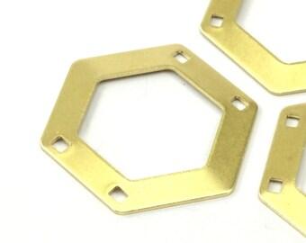 10 Raw Brass Hexagon Stamping Blank 4 Hole  (30x0.80 Mm)  D123