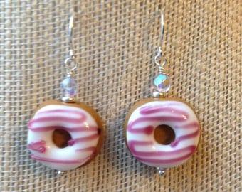 Lampwork donut earrings