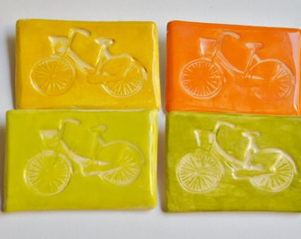 Ceramic Bicycle Brooches in Pastel, Brights or Fluorescent
