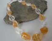 Citrine nuggets statement necklace clear Quartz crystal