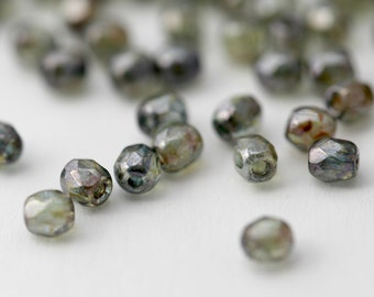 Czech Glass Beads Green Picasso Faceted Round 3mm (100)