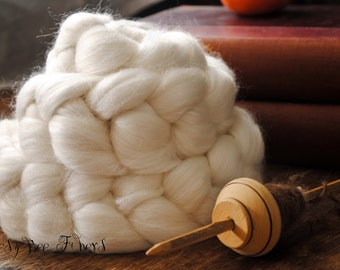 Undyed Merino Bamboo Blend Combed Top Wool Roving Spinning or Felting - 4 oz