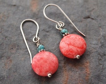 Turquoise and Rhodochrosite Earrings
