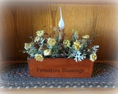 Lighted Floral Arrangement in handmade wooden box