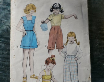 Vintage 1950s 1952 Butterick Girls' playsuit, slacks, or pedal pushers Pattern 6146 Size 10