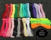 1/8 Skinny Elastic Ribbon 10 yard pack  27 colors