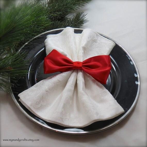 Crimson Red Bow Napkin Ring Wedding Reception By Mymandycrafts