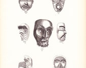 1882 Native American Indian Print - America Northwest Mask - Antique Art Illustration Book Plate History Archaeology Ethnology 100 Years Old