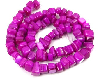 """5-7mm Fuchsia / Orchid Mother Of Pearl Irregular Cube Beads 15"""" (e7296)"""
