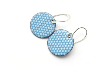 Handmade Aqua Blue Earrings with White Polka Dots, Modern Enamel Jewelry, Copper and Sterling Silver, Gift for her