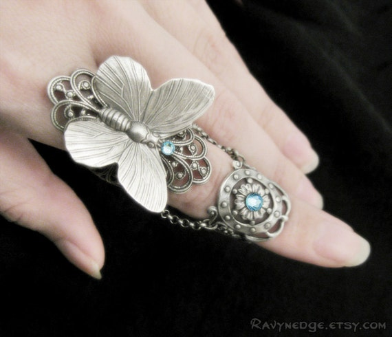 Fairy's Touch - Silver Butterfly Armor Ring, Aquamarine Ring, Gothic Jewelry, Fantasy Jewelry, Armour Ring, Finger Armor, Slave Ring