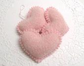 Light Pink Beaded Heart Nursery Decor Nursery Decoration Valentines Day Gift Valentine Ornament Valentines Hearts Valentines Decor 270