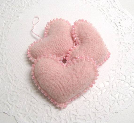 Light Pink Beaded Heart Nursery Decor Nursery Decoration Valentines Day Gift Valentine Ornament Valentines Hearts Valentines Decor 270