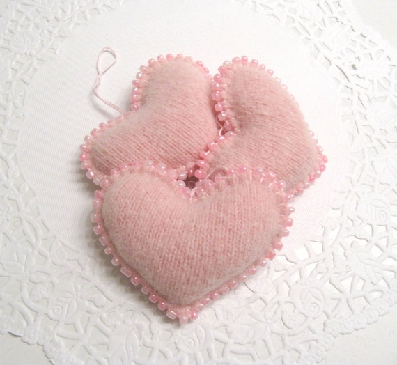 Light Pink Beaded Heart Valentines Day Ornaments Handmade from Felted Wool Sweaters (no.270)