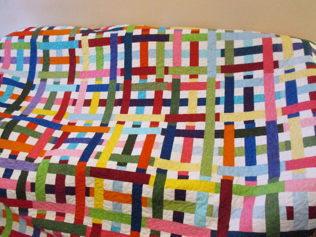 Twin Size Bed Quilt Bright Modern Quilt Plaid Quilt