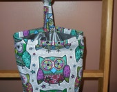 Bright Colorful Owls on Grey Classy Car Trash Bag / Item # CL279