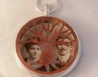 Sterling Silver Remembrance Tree of Life Antique Pocket Watch Locket