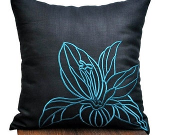 Black Flower Throw Pillow Cover, Decorative Pillow Cover,  Black Linen Blue Gray Flower, Embroidered Home Decor, Couch Pillow, Accent pillow