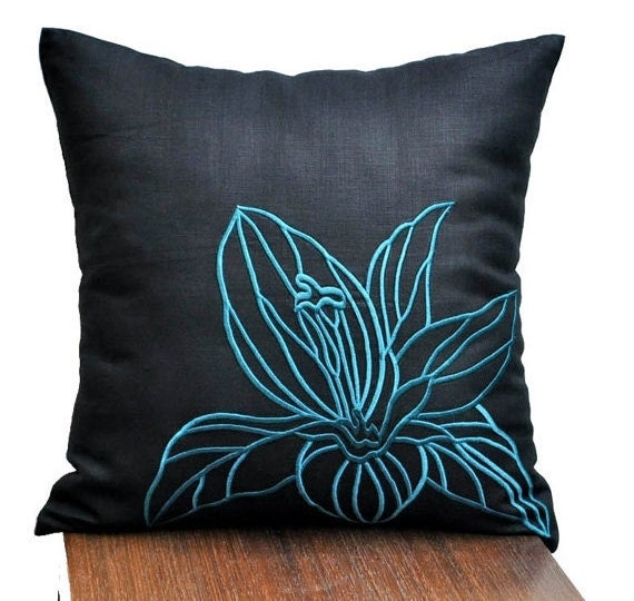 Black Flower Throw Pillow : Black Flower Throw Pillow Cover Decorative Pillow Cover