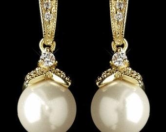 Gold bridal earrings silver gold pearl drop bridal earrings vintage style crystal pearl drop wedding bridal earrings bridal jewelry